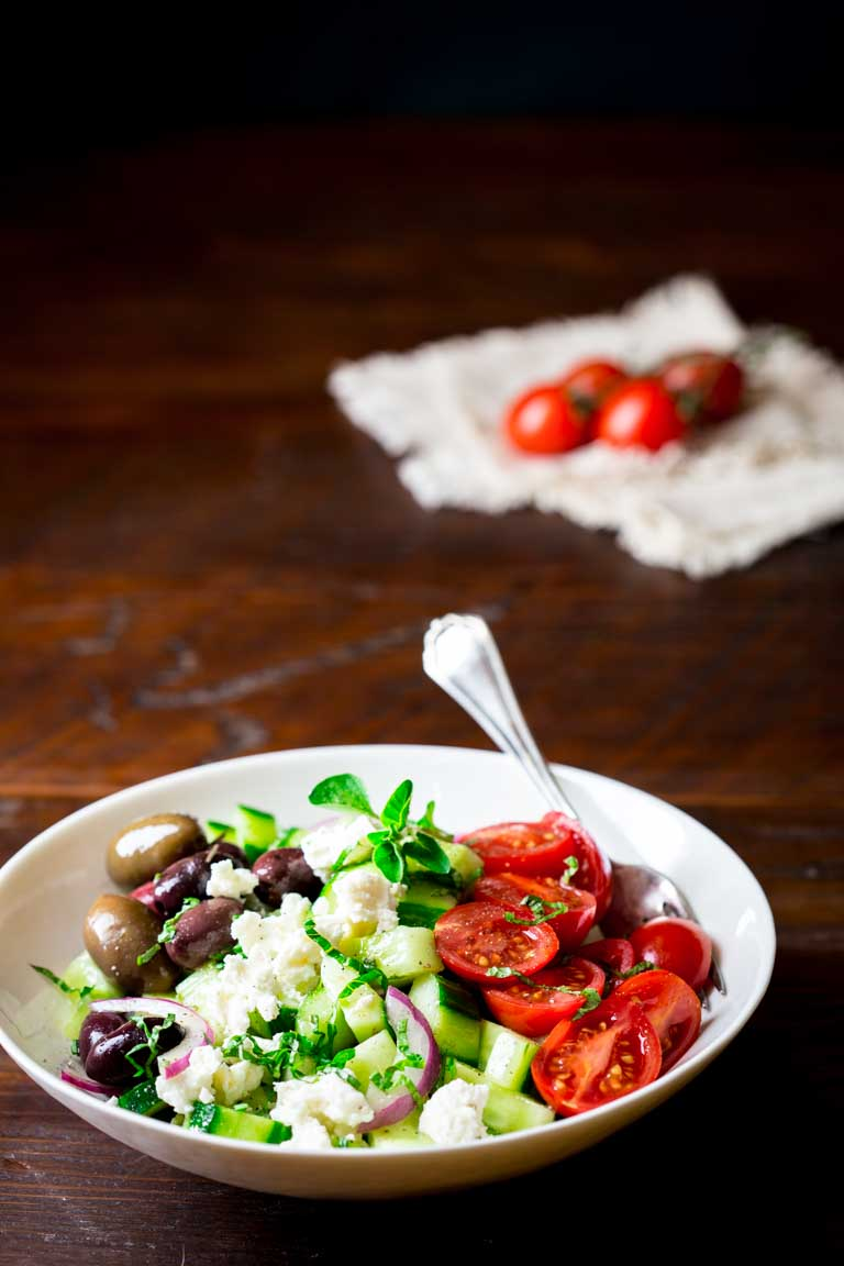 Easy-as-can-be 15 minute Greek cucumber salad with feta, olives and cherry tomatoes. This is totally my cup of tea, and I want to tell you why I think there should be a thing called the cup of tea scale. {Gluten-free, vegetarian and low carb.}