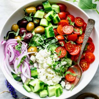 A close-up of cucumber greek salad