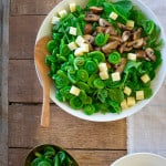 Marinated Mushroom and Fiddlehead Salad with Swiss Cheese