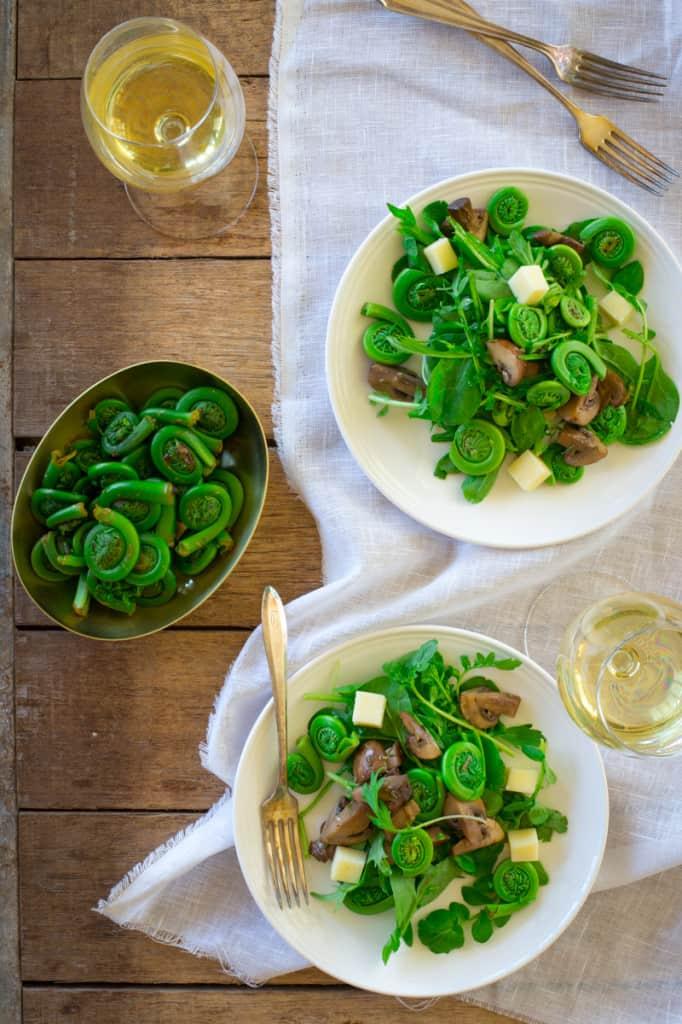 Marinated Mushroom and Fiddlehead Salad with Swiss Cheese on healthyseasonalrecipes.com