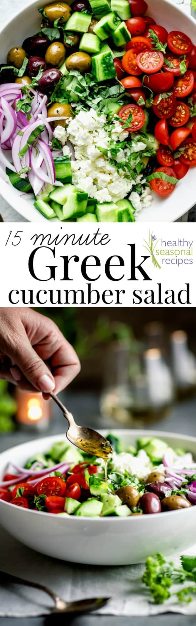 What's not to adore about this easy-as-can-be 15 minute Greek cucumber salad with feta, olives and cherry tomatoes? It's the absolute best! Naturally gluten-free. #healthy #greek #cucumber #salad #glutenfree #lowcarb