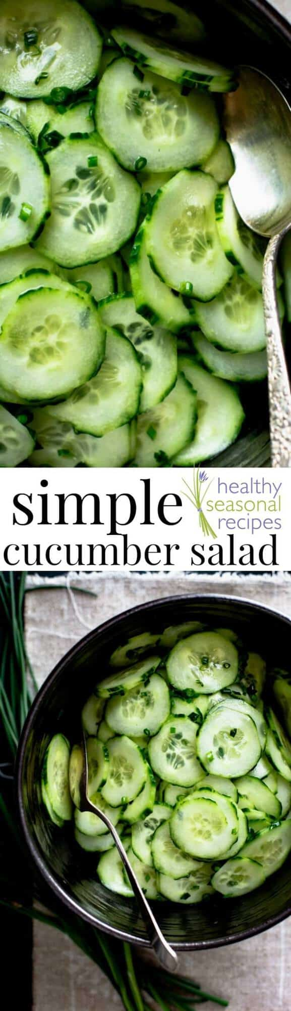 Simple healthy cucumber salad with chives and rice vinegar. Very easy to make and only 19 calories per serving. Fat-free, vegan and gluten-free. #cucumber #salad #vegan #fatfree #vegetarian #glutenfree #lowcalorie #lowcal #sidedish #appetizer #potluck #chives #healthy #skinny