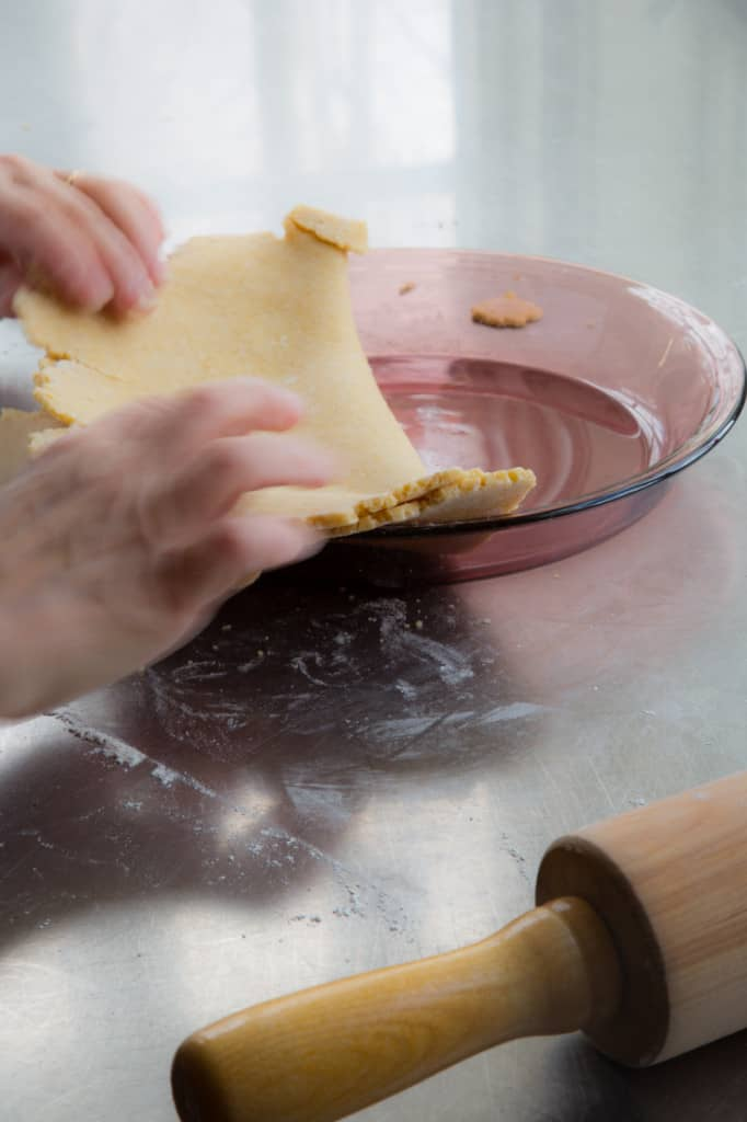 transfer crust to the pie dish