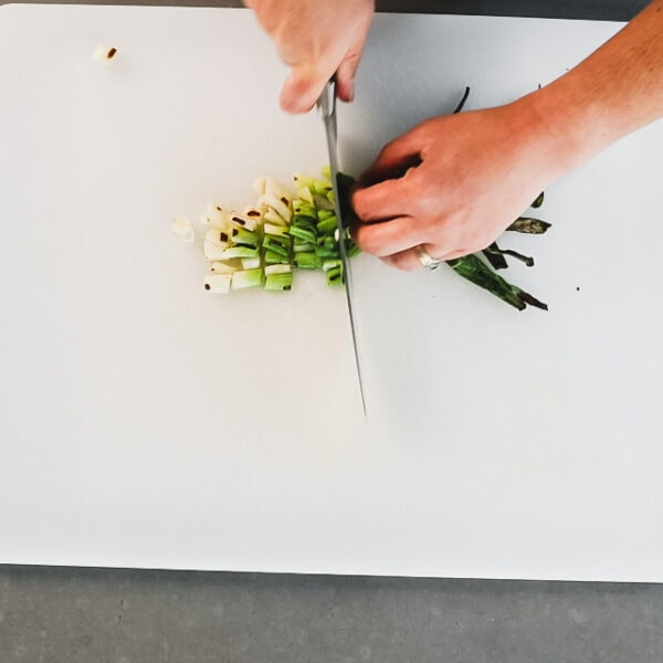 Chop the scallions