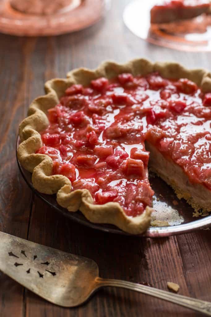 light rhubarb chai cream pie from healthyseasonalrecipes.com