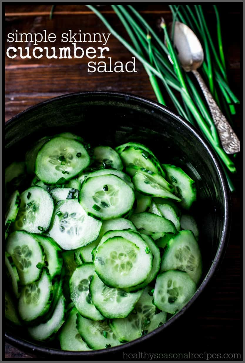 Simple Skinny Cucumber Salad - only 19 calories per serving via healthyseasonalrecipes.com