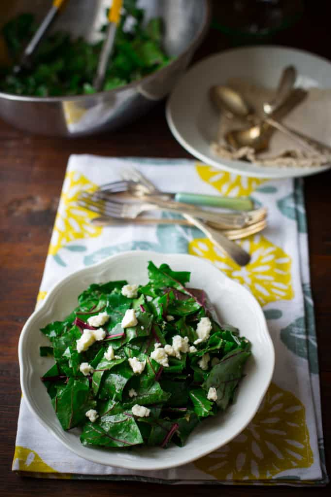Beet Greens Salad with Feta and Killer Garlic dressing with Sherry Vinegar and Dijon on healthyseasonalrecipes.com vegetarian and wheat-free