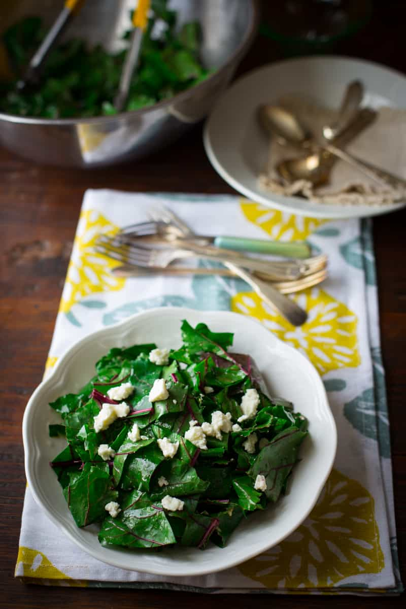 ... beet green salad with sherry vinaigrette and feta - Healthy Seasonal