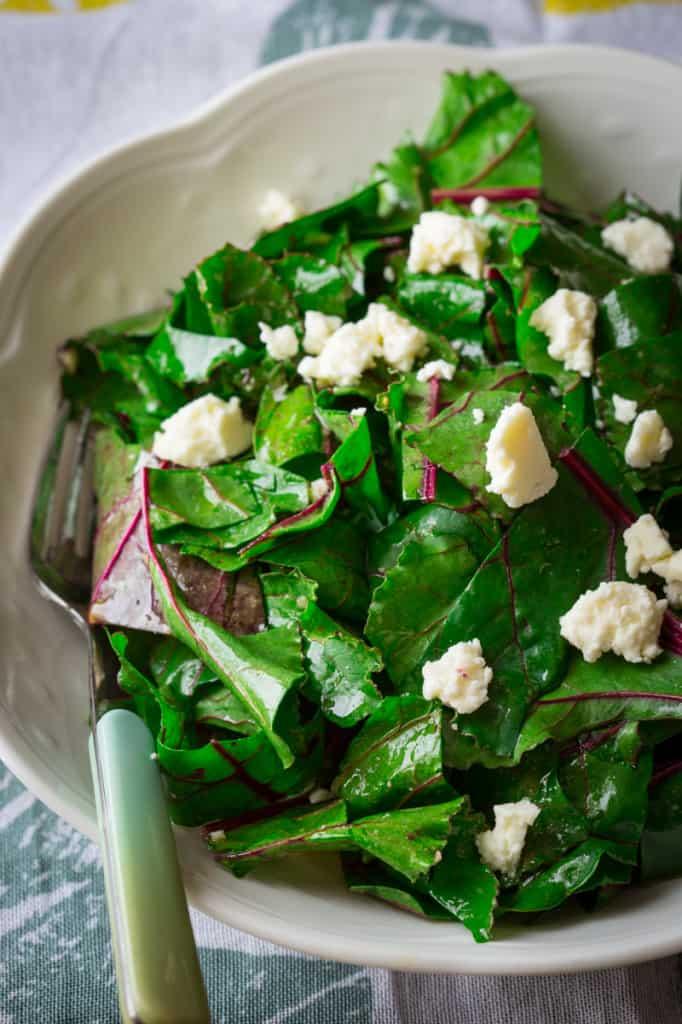 Beet Green Salad with Sherry Vinaigrette and Feta