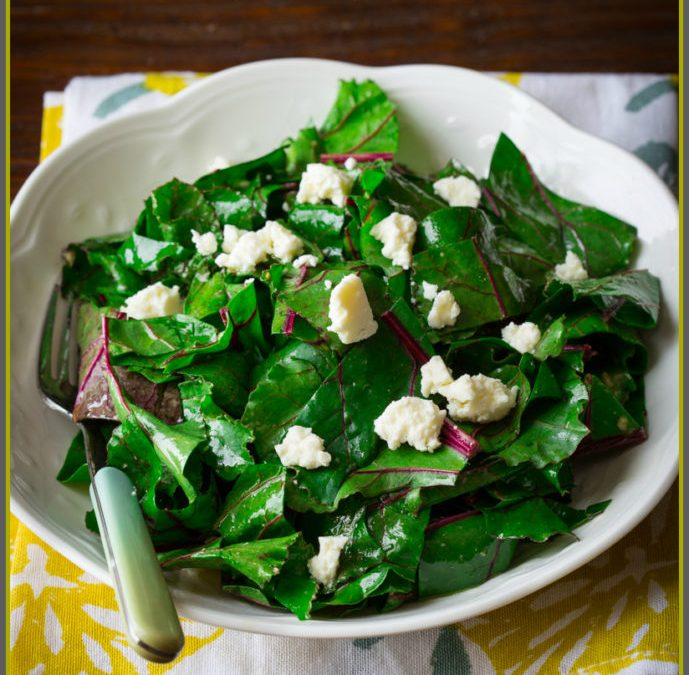 what to do with beet greens and a recipe for beet green salad with sherry vinaigrette and feta
