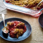 Gluten Free Strawberry Rhubarb Crisp with Maple and Pecans on HealthySeasonalRecipes.com