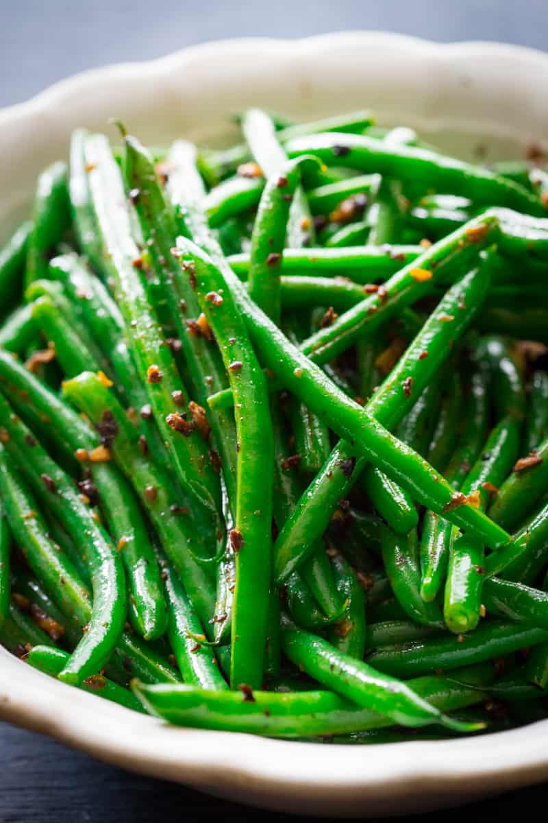 Dirty Green Beans in a white bowl