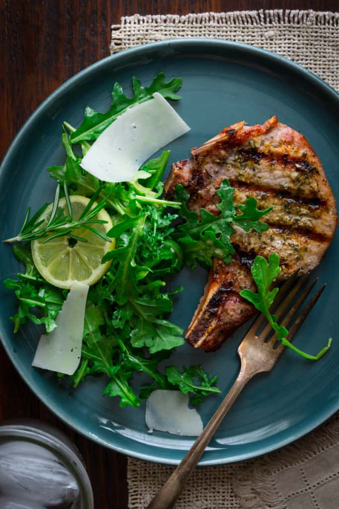 Simple Lemon Rosemary Pork Chops with Arugula Salad on healthyseasonalrecipes.com