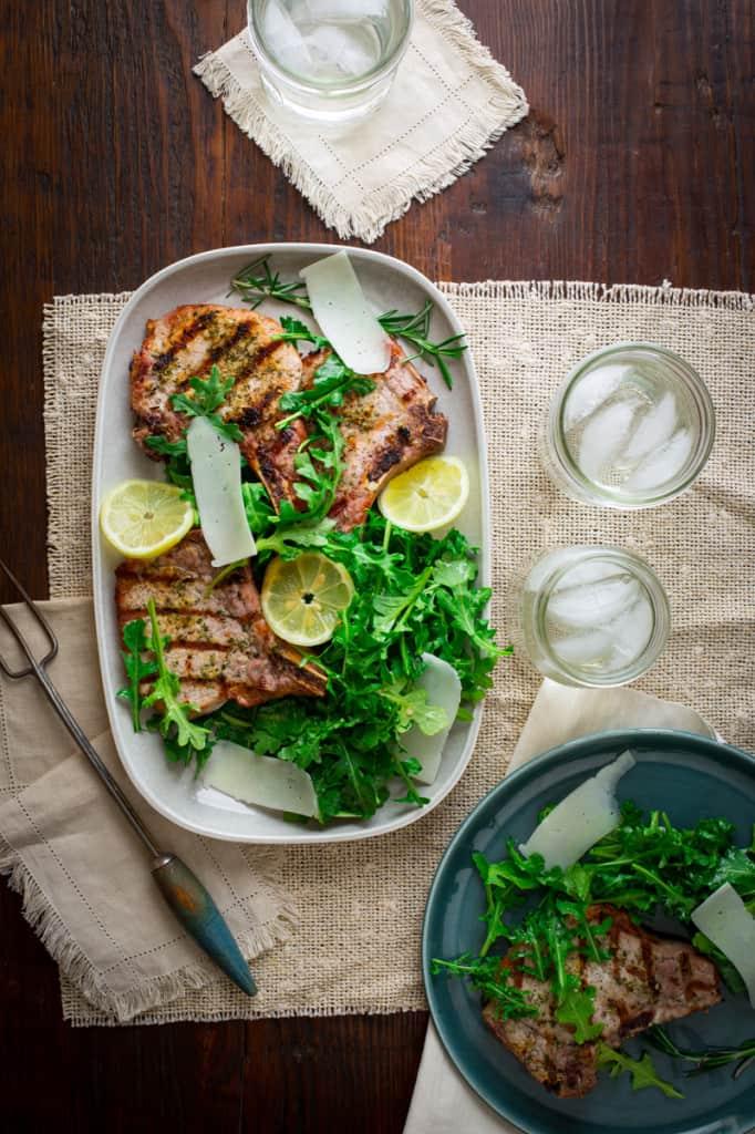 Lemon Rosemary Pork Chops with Arugula Salad on HealthySeasonalRecipes