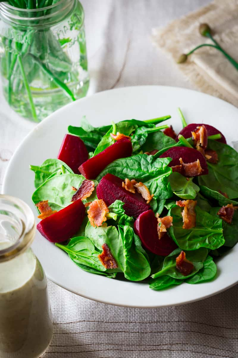 bacon spinach salad with maple ranch and beets | only 175 calories per serving on healthyseasonalrecipes.com