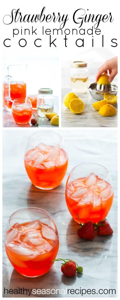 Strawberry Ginger Pink Lemonade Cocktails