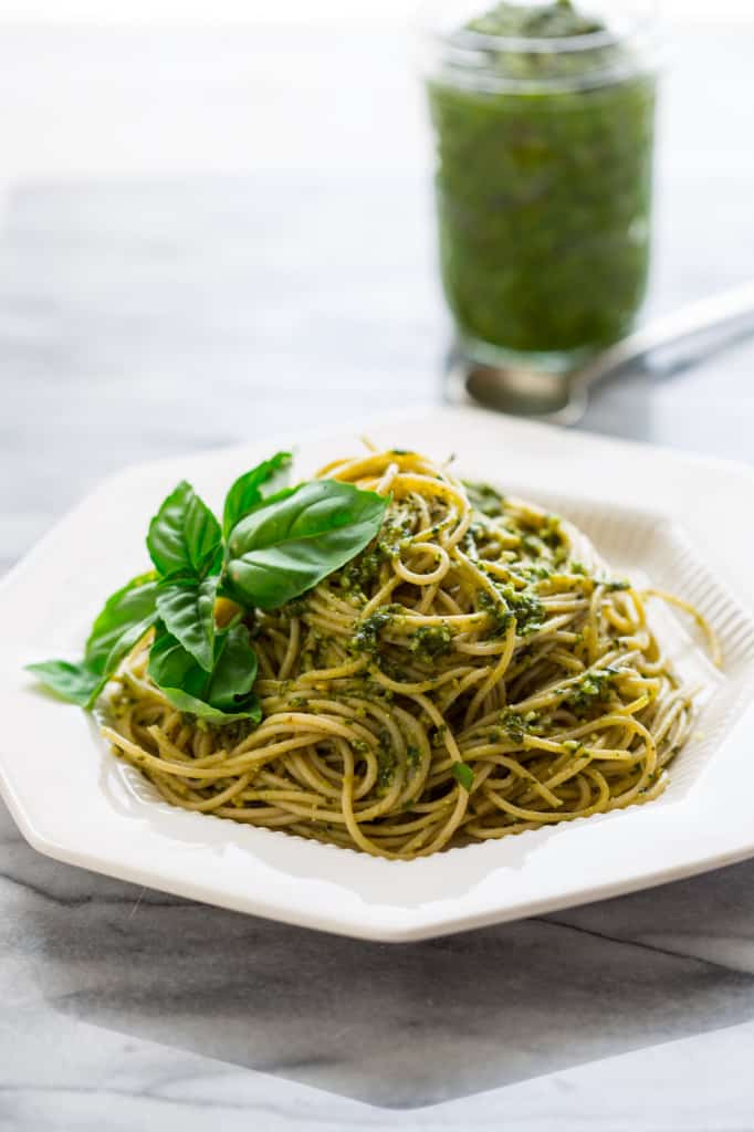 5 minute classic basil pesto recipe on healthyseasonalrecipes.com