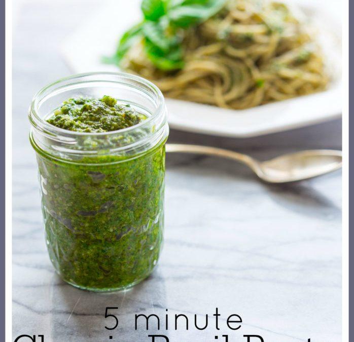 5 minute classic basil pesto
