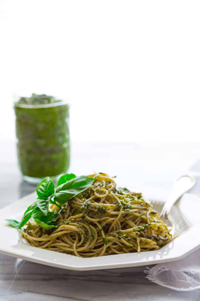 5 minute classic basil pesto and healthy recipes with pesto in them on healthyseasonalrecipes.com