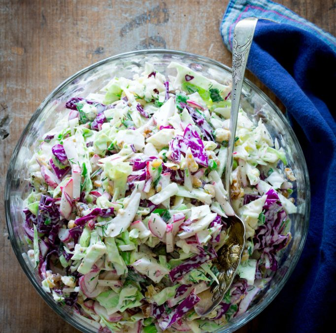 creamy blue cheese and walnut coleslaw