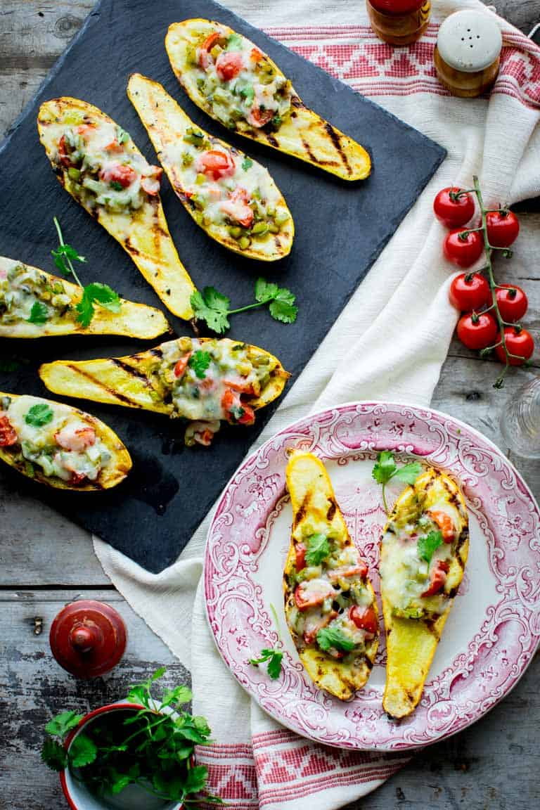 low carb grilled stuffed summer squash
