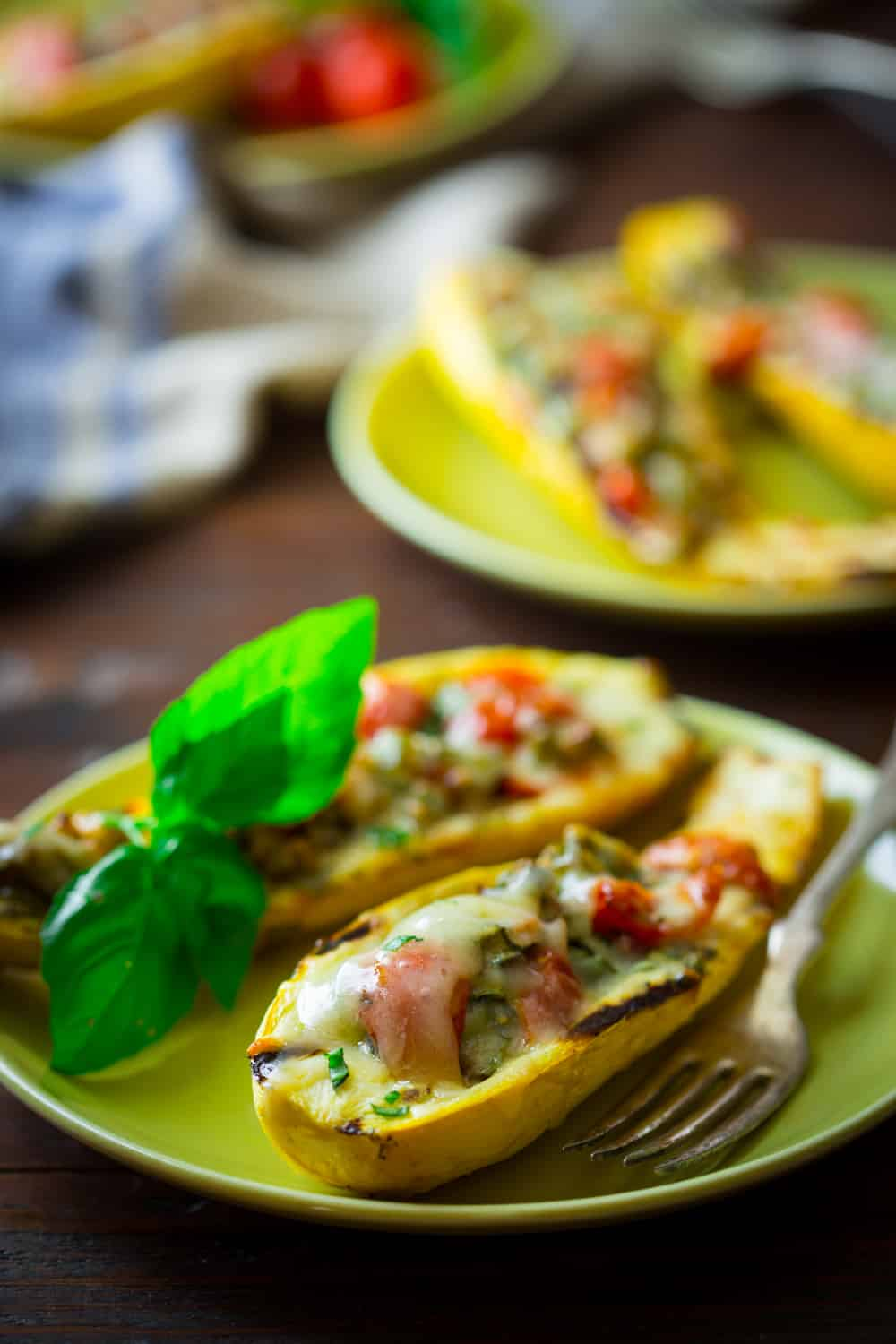 Vegetarian Grilled Summer Squash Boats with Peppers and Cheddar on healthyseasonalrecipes.com #glutenfree