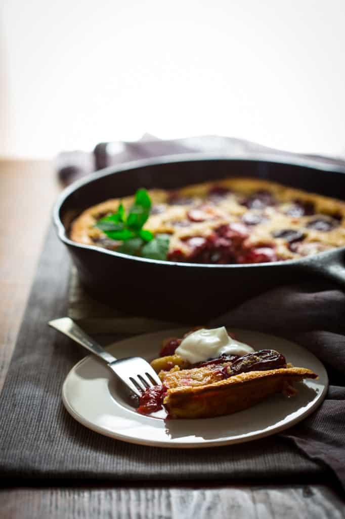 Gluten-Free Itailan Prune Plum Clafoutis on Healthyseasonalrecipes.com