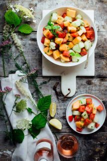 The 4 ingredient Melon and Mint Salad recipe I have for you today is utterly delicious in its simplicity. It takes just 10 minutes and is totally gluten free and dairy free! | Healthy Seasonal Recipes | Katie Webster