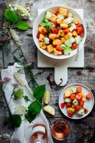 The 4 ingredient Melon and Mint Salad recipe I have for you today is utterly delicious in its simplicity. It takes just 10 minutes and is totally gluten free and dairy free!   Healthy Seasonal Recipes   Katie Webster