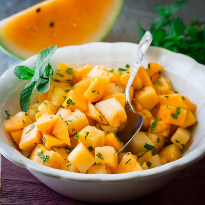 ingredient Melon salad with fresh mint and honey. Only 10 minutes to ...
