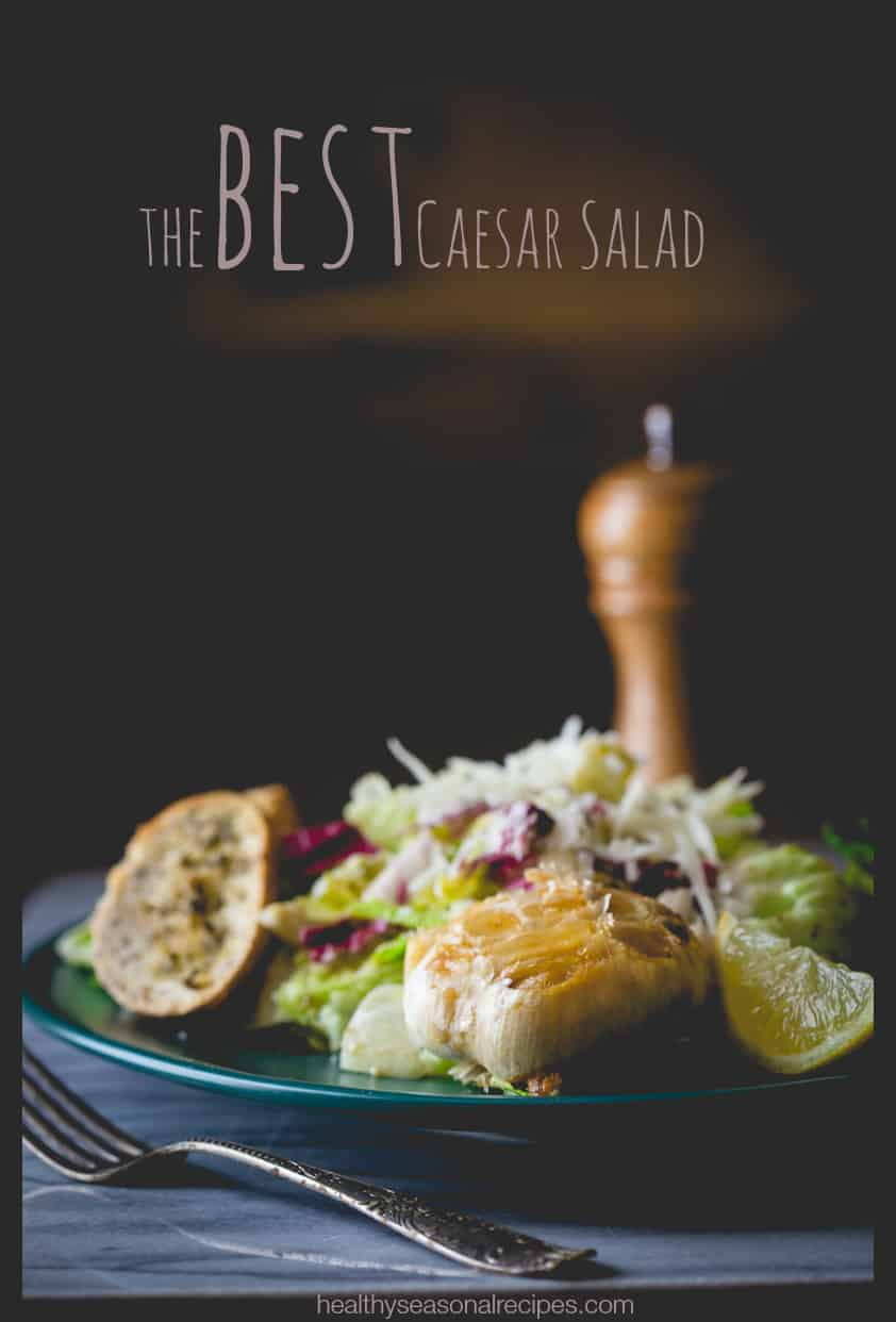 Caesar Salad on HealthySeasonalRecipes with a whole head of roasted ...