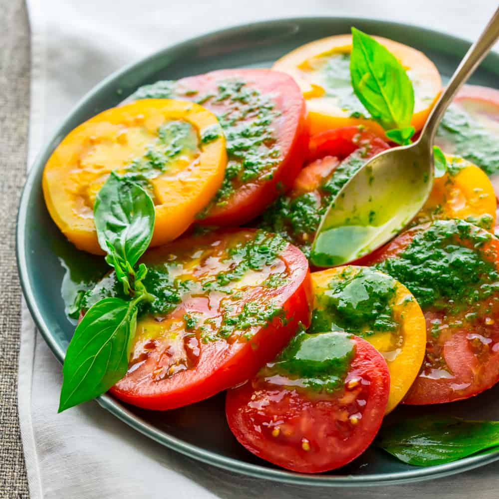 Tomatoes with Thai basil Dressing #glutenfree #5ingredients 10-minutes