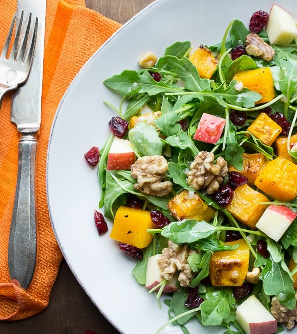 baby arugula and butternut salad with maple vinaigrette {paleo, vegan and glutenfree}