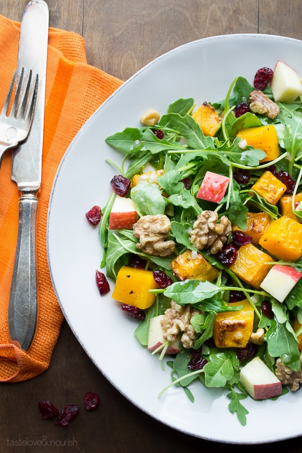 Arugula Salad with Butternut Squash, Apple and Maple Vinaigrette by Caroline Hurley on HealthySeasonalRecipes.com #glutenfree #vegan #paleo