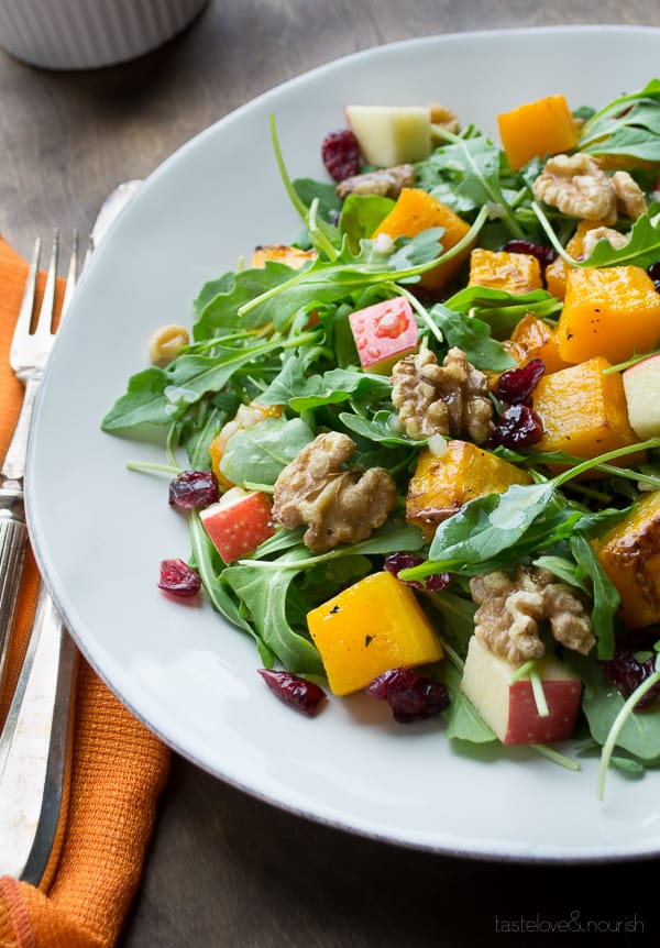 Arugula Salad with Butternut Squash, Apple and Maple Vinaigrette by Caroline Hurley on HealthySeasonalRecipes.com #glutenfree #vegan #paleo