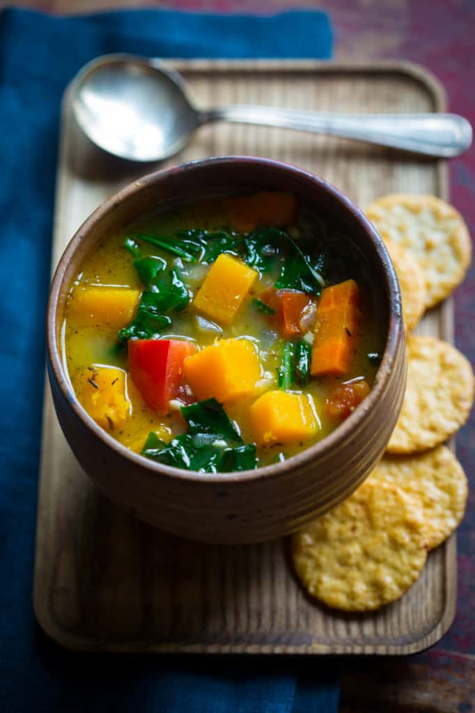 Vegan Vegetable Soup on tray with crackers