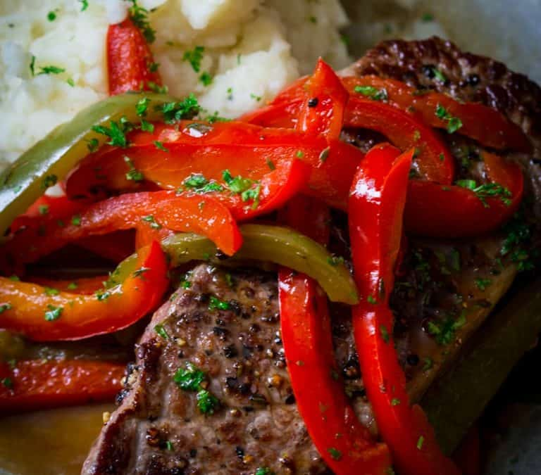skillet pepper steaks {paleo and low-carb}