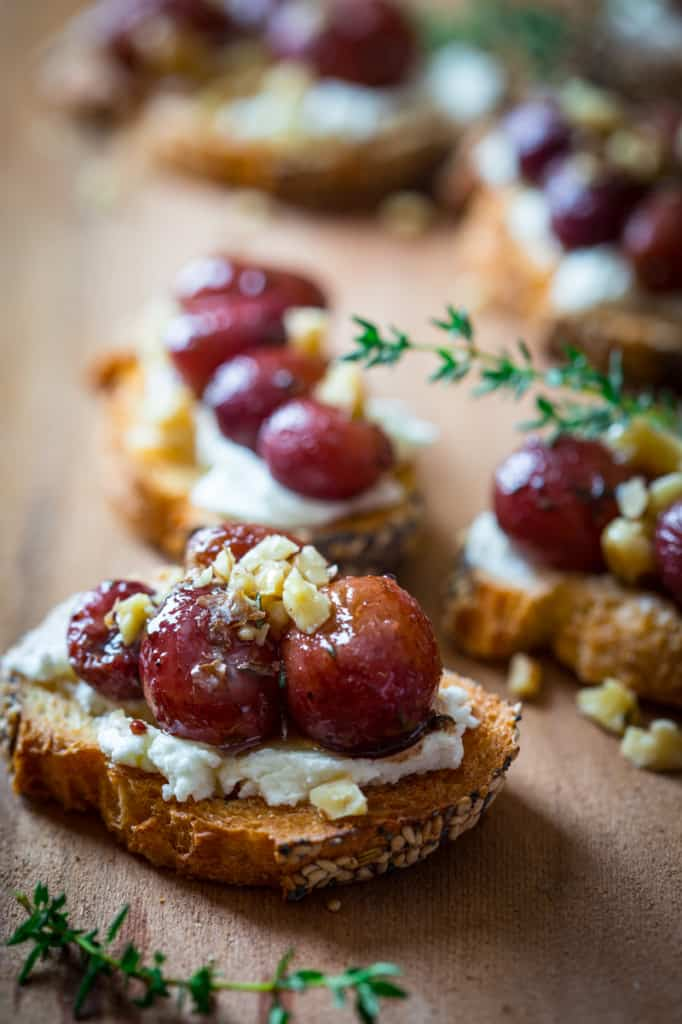 Roasted grape Crostini with Goat Cheese and Walnuts