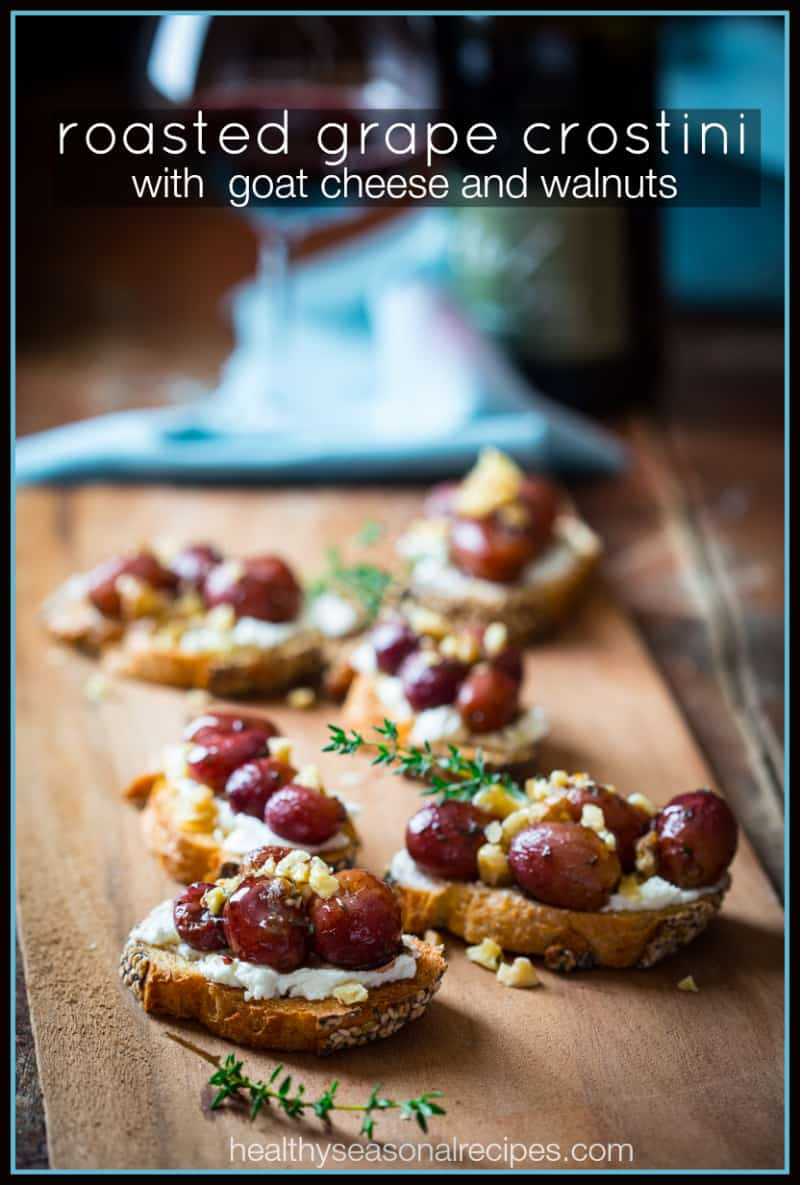 ... grape and honey grape crostini with blue roasted grape and goat cheese