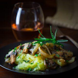 Spaghetti Squash with Mushroom and Rosemary Sauce #paleo #vegan on healthyseasonalrecipes.com