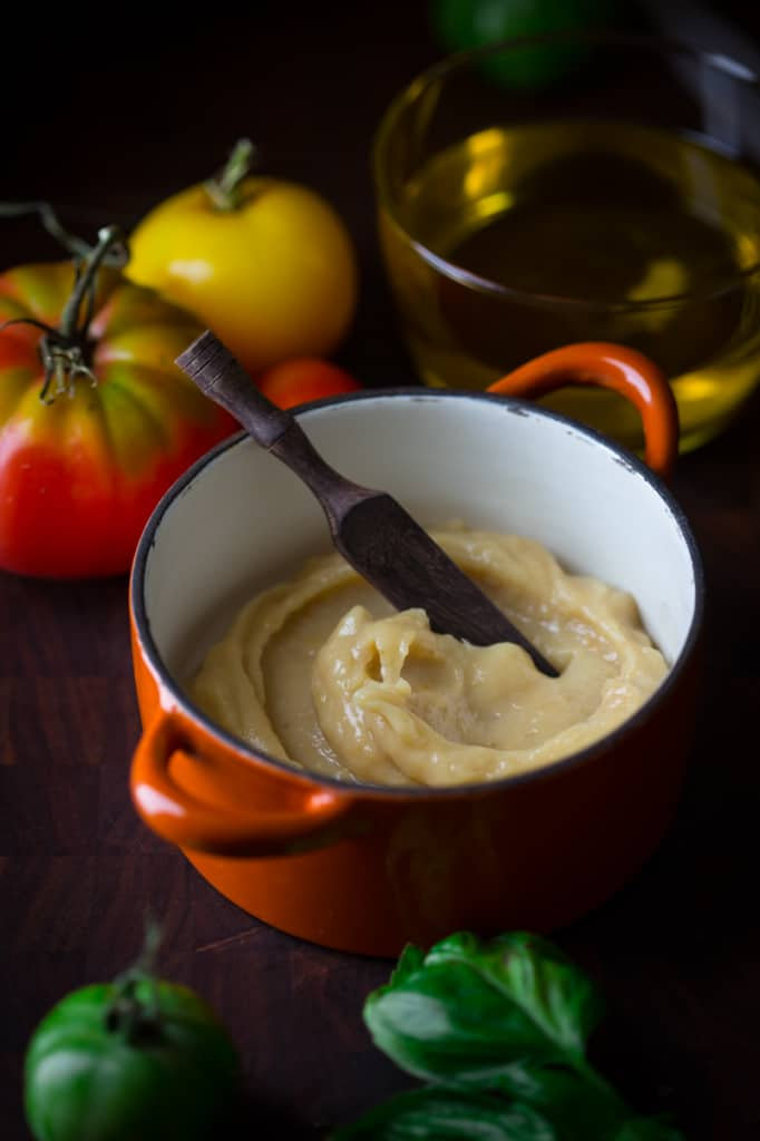 Stove Top Roasted Garlic Puree in a ramekin