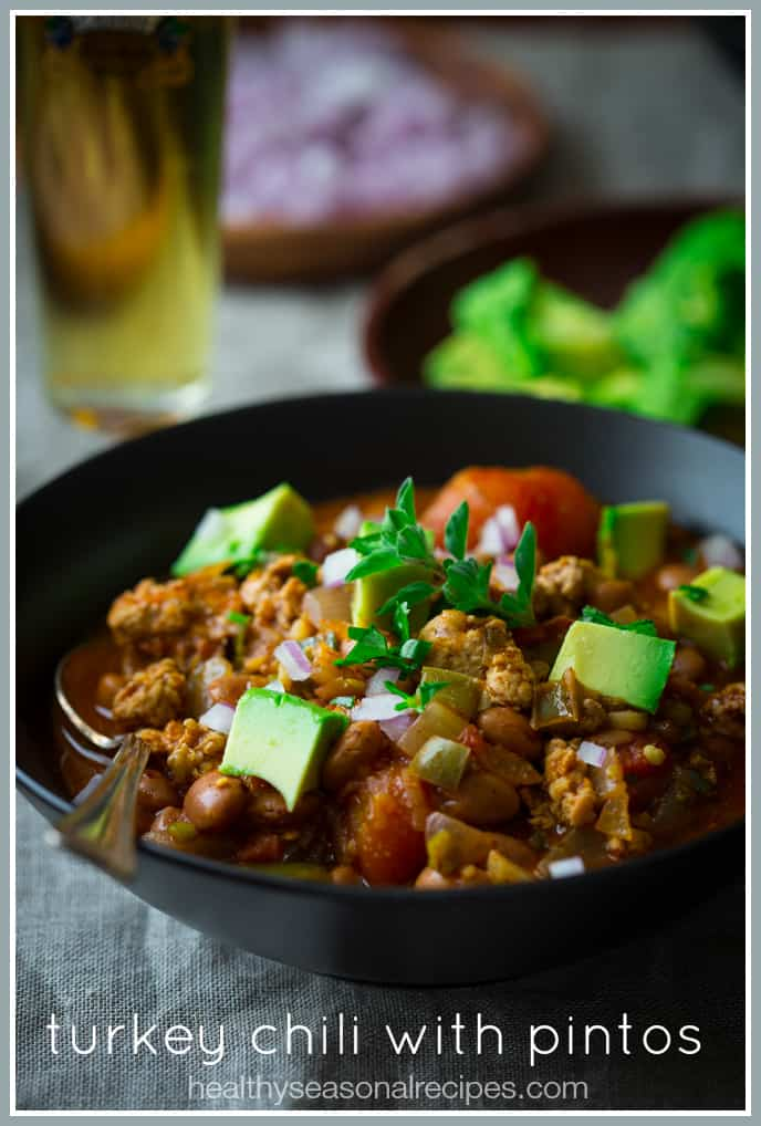 Turkey Chili Recipe with Pinto Beans on healthyseasonalrecipes.com #glutenfree
