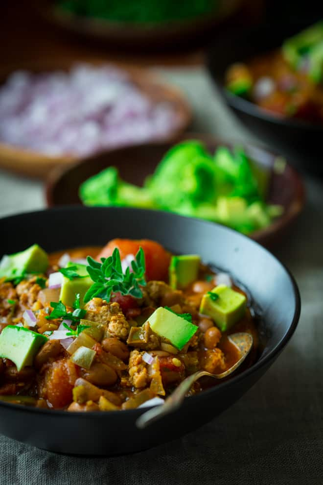 Turkey Chili with Pinto Beans on healthyseasonalrecipes.com