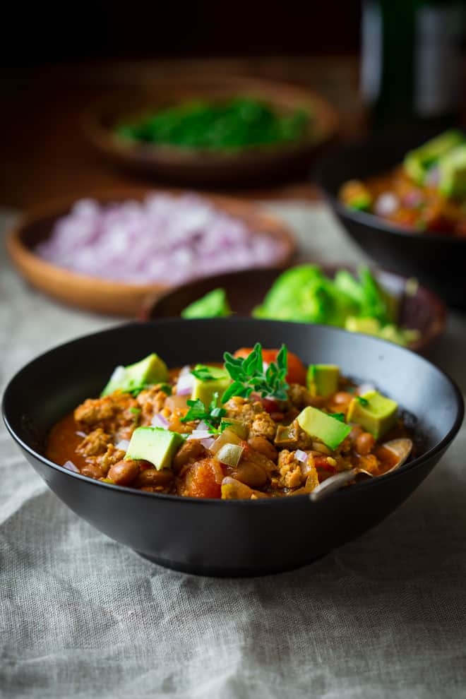 Turkey Chili Recipe with Pinto Beans on healthyseasonalrecipes.com