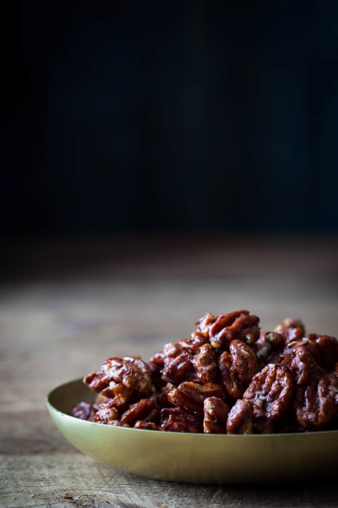 Chocolate Chili Spiced Pecans on healthyseasonalrecipes.com #glutenfree