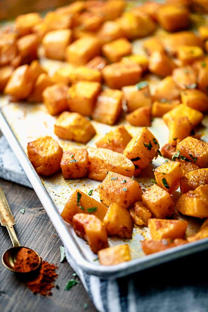 a sheet pan with roasted squash