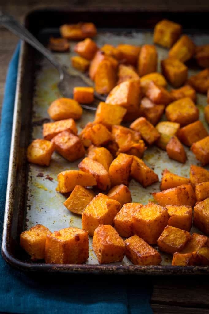 Roasted Butternut Squash with Smoked Paprika and Turmeric Recipe only 10 mintes of effort, gluten free, vegan and paleo on healthyseasonalrecipes.com