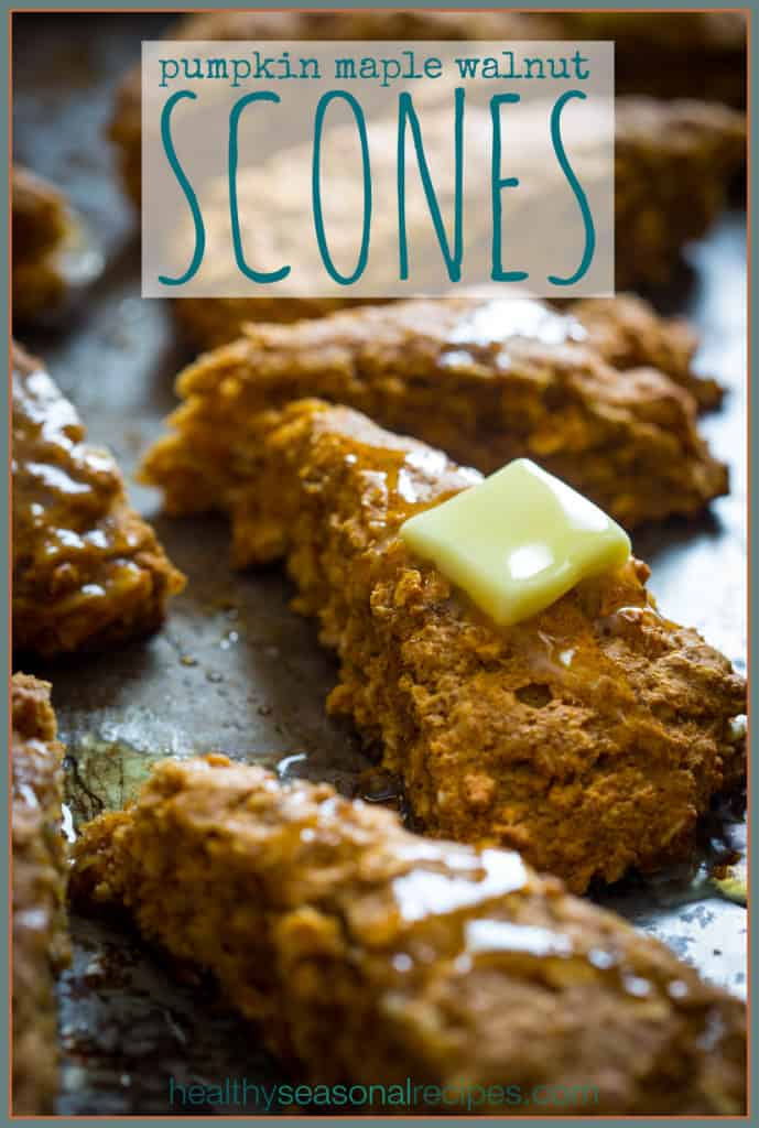 Vegan Pumpkin Maple Walnut Scones on healthyseasonalrecipes.com