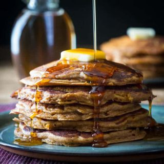 Healthy Whole-grain Gingerbread Apple Pancakes on Healthyseasonalrecipes.com