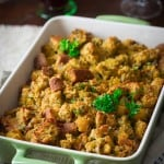 Bacon Butternut Squash Cornbread Stuffing for Thanksgiving on healthyseasonalrecipes.com
